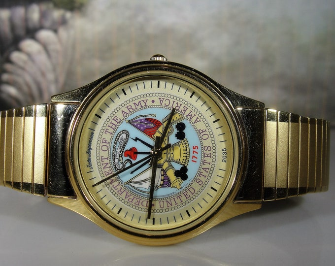 JULES JURGENSEN Wrist Watch, Dept of US Army,  Military Mens Watch, Model 7531AR, Army Emblem, Gold Plated Quartz Watch, Vintage Watch