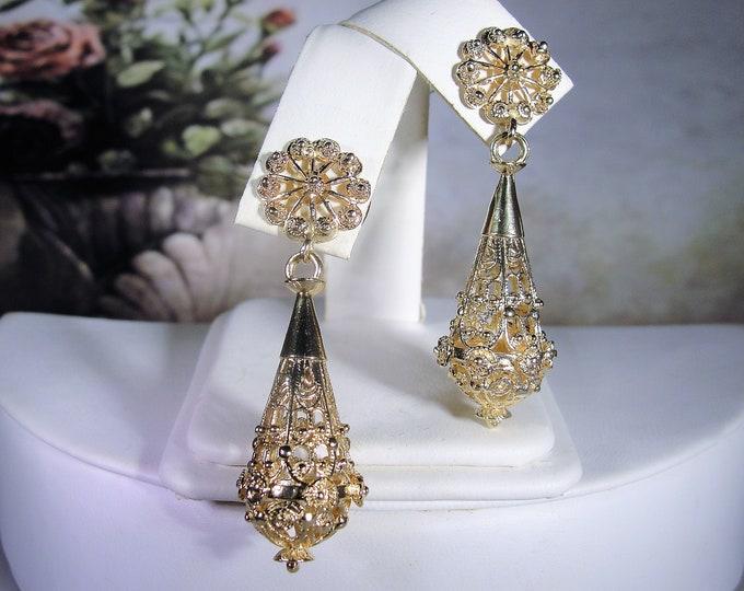 14K Yellow Gold Intricate Filigree Chandelier Earrings, Drop Dangle Earrings, Unique Filigree Earrings, Vintage Earrings