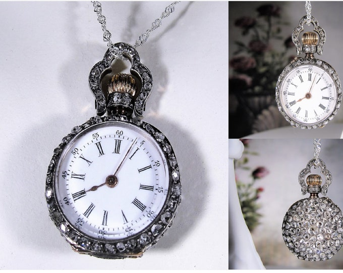 Pendant Watch, Platinum and Rose Cut Diamond Encrusted Petite Pre-Civil War Pendant Watch, Antique Pendant Watch