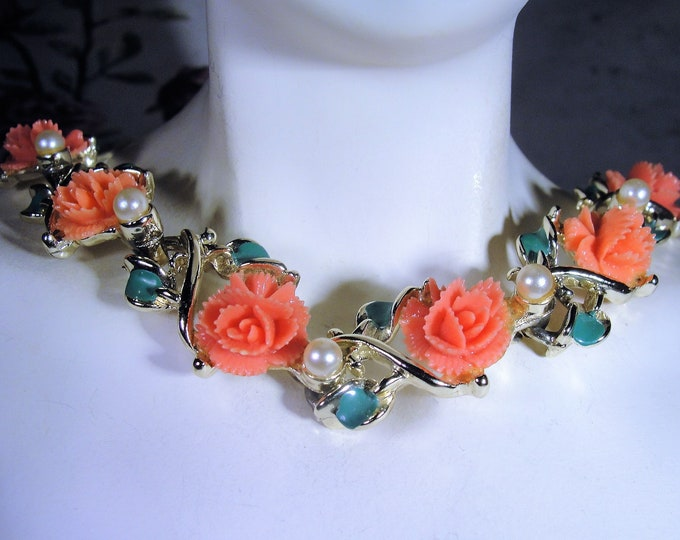 Midcentury Celluloid Salmon Colored Rose Necklace, Pink Orange Roses, Green Enamel Leaves, Faux Pearls, Vintage Necklace