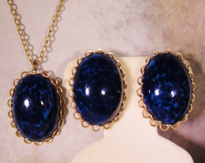 Mottled Dark Blue Cabochon Necklace and Earrings Set, Dark Blue Jewelry Set, Necklace and Earrings, Blue Cabochon Pendant and Earrings