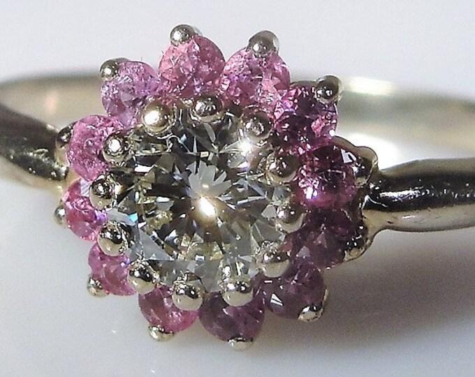 14K White Gold Diamond and Pink Sapphire Halo Ring, .65 Carat Diamond, .36 TCW Pink Sapphires, Vintage Ring, Size 7.25