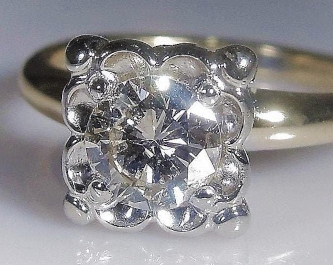 Engagement Ring, Art Deco 14K Gold .66 Carat Diamond Solitaire Engagement Ring, Genuine Diamond, Vintage Ring, Size 6, FREE SIZING!!
