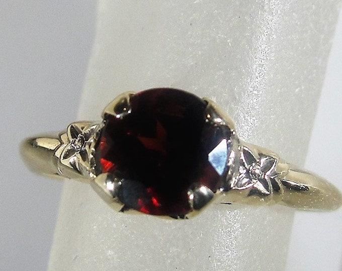 10K Art Nouveau Garnet Solitaire Ring, Art Carved Gold Flower Embellishments, Orange Blossom Ring, Vintage Ring, Size 6, FREE SIZING!!