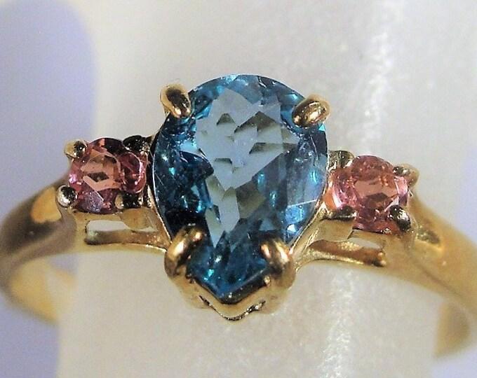 10K Rose Gold Ring, Swiss Blue and Pink CZ Ring, Pear Shaped Blue CZ Ring, Pink Accent Gems, Blue and Pink Ring, Vintage Ring, Size 7.25