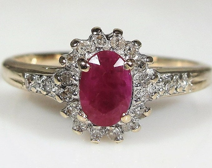 Ruby and Diamond Ring, 10K Yellow Gold Petite Ruby and Diamond Halo Ring, July Birthstone, Right Hand Ring, Sz 7, Vintage Ring, FREE SIZING!