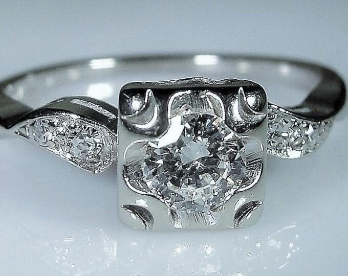 Engagement Ring, Vintage 14K White Gold Diamond Ring, Genuine .31 CT Diamond, Size 6.5, FREE SIZING!!