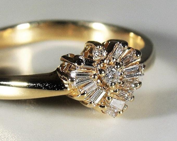 Engagement Ring, 14K Heart Shaped Baguette Diamond Engagement Ring, .27 Total Carat Weight, Vintage Diamond Ring, Size 7.25, FREE SIZING!!