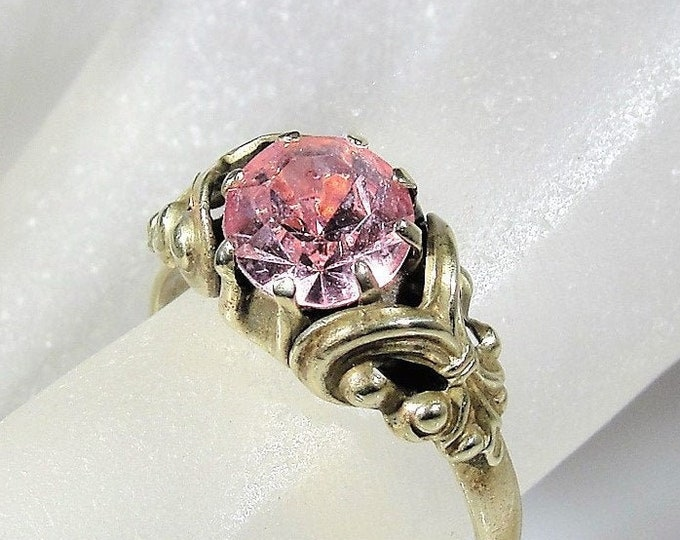 Czechoslovakia Glass Ring, Victorian Pink Glass Stone Brass Ring, Antique Ring, Right Hand Ring, Size 5.5, Vintage Ring