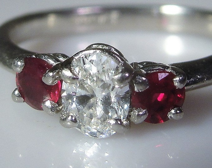 Diamond Ruby Ring, Platinum Diamond and Ruby Ring, Oval .47 Carat Diamond, Fine Jewelry, Trilogy Ring, Vintage Ring, Size 4.75, FREE SIZING!