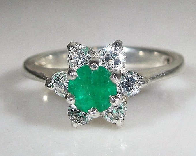 Sterling Emerald Ring, Genuine Green Emerald Flower Ring with Cubic Zirconia Petals, Right Hand Ring, Statement Ring, Size 5, FREE SIZING!!