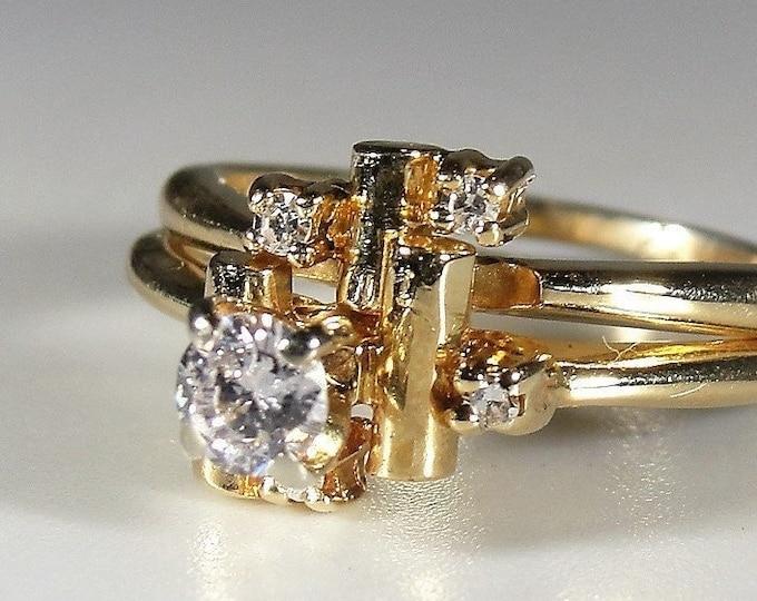 Bridal Ring Set, 14K STYLE CREST Geometric Bridal Ring Set, Diamond Engagement Ring, Diamond Wedding Band, Vintage Rings, Sz 5, Free Sizing!