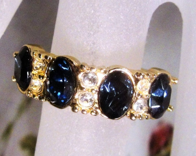 Blue Sapphire Rhinestone Ring, Blue and White Rhinestone Ring, Gold Ring ,Blue Rhinestone Band Ring, Vintage Ring, Size 7.25