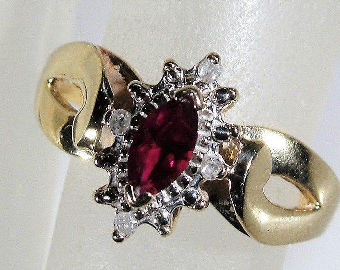 Ruby Ring, Victorian 14K Yellow Gold Ruby and Diamond Marquise Ring, July Birthstone, Right Hand Ring, Size 5, Vintage Ring, FREE SIZING!!