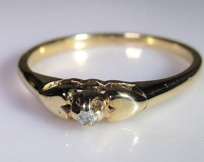 10K Diamond Promise Ring, Petite Diamond Heart Ring, Diamond Heart Promise Ring, Pre-Engagement Ring, Vintage Ring, Antique Ring, Size 4.5