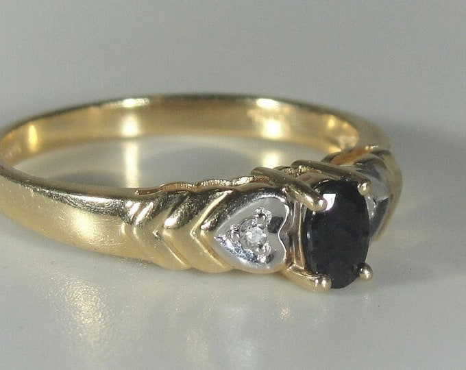 Sapphire Ring, 10K Yellow Gold Blue Sapphire Ring with White Gold Diamond Heart Accents, Birthstone Ring, Vintage Ring, Sz 6.5, FREE SIZING!