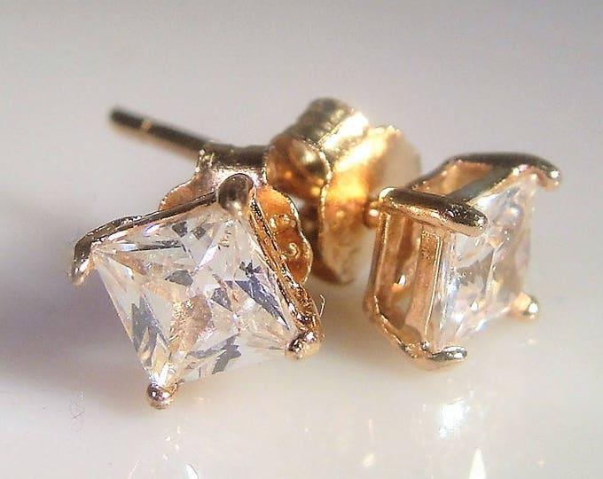 Rose Gold Vermeil Stud Earrings, Princess Cut CZ Earrings, Pierced Earrings, Butterfly Backs, Sterling Silver Earrings, Vintage Earrings