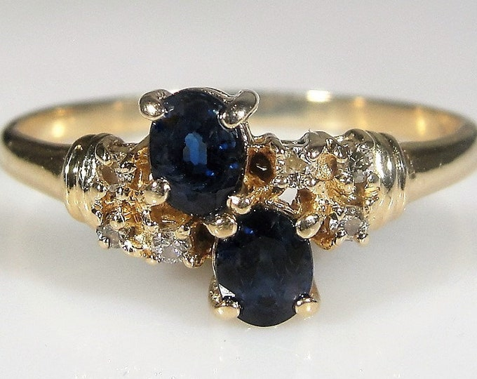 Sapphire Diamond Ring, 14K Yellow Gold, 2 Oval Cut Sapphires, 6 Genuine Diamonds, Statement Ring, Vintage Ring, Size 7.25, FREE SIZING!!