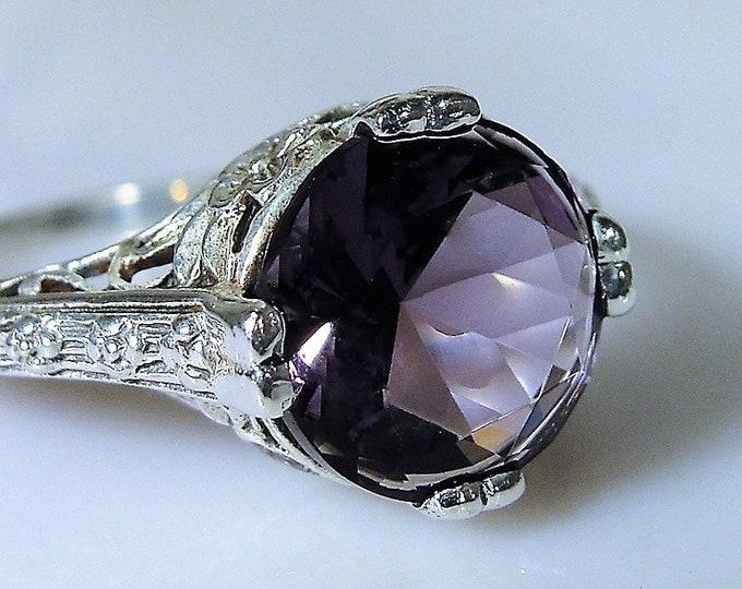 Edwardian Amethyst Sterling Silver Filigree Ring, Sterling Silver, Purple Amethyst, Filigree Ring, Edwardian Ring, Vintage Ring, Size 6