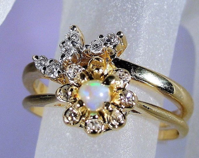Bridal Ring Set, 10K Opal and Diamond Ring Set, Opal Diamond Engagement Ring, Diamond Wedding Band, Vintage Ringst, Size 7, FREE SIZING!!