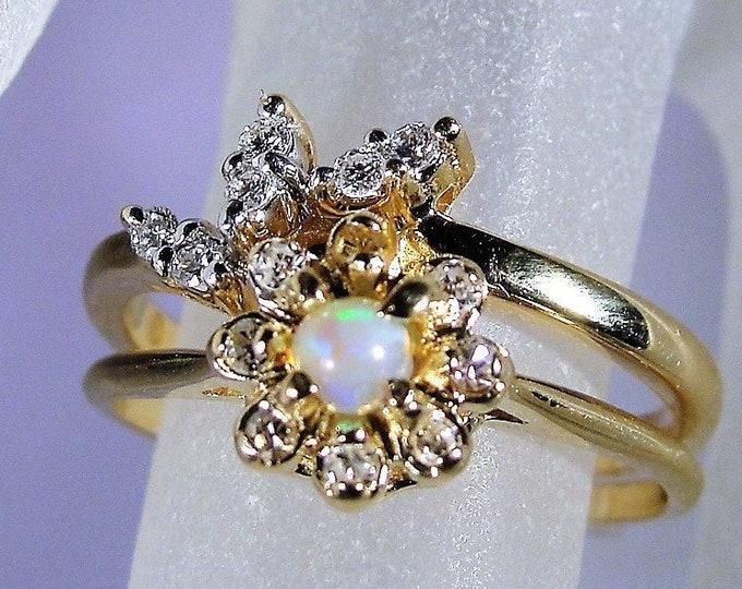 10K Opal and Diamond Bridal Ring Set, Opal Diamond Engagement Ring, Diamond Wedding Band, Vintage Bridal Ring Set, Size 7