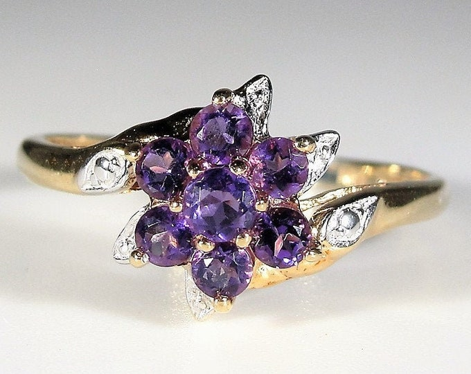 Amethyst Ring, 10K Yellow Gold Purple Amethyst and Diamond Bypass Flower Ring, Right Hand Ring, Size 7.5, Vintage Ring, FREE SIZING!!
