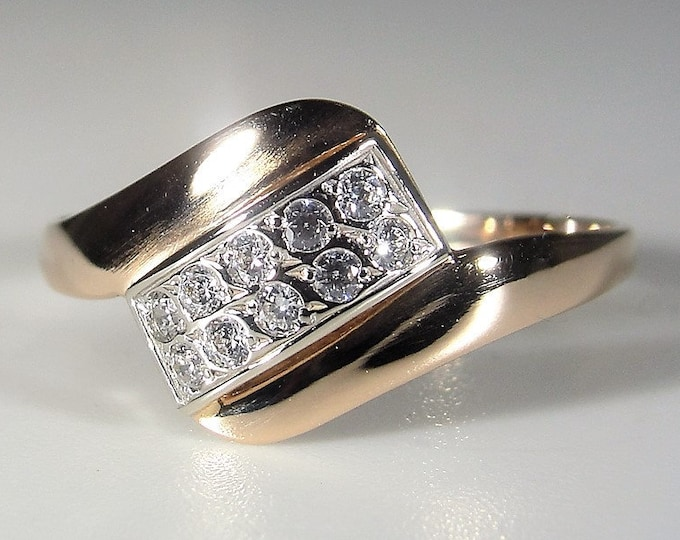 14K CZ Ring, 14K Rose Gold Cubic Zirconia Bypass Ring, Band Ring, Midi Ring, Pinky Ring, Right Hand Ring, Size 5, Vintage Ring, FREE SIZING!