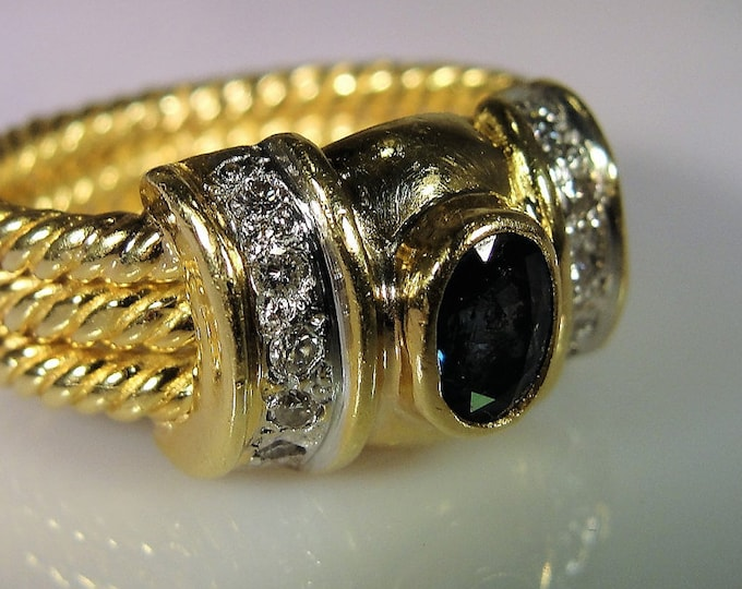 Sapphire Ring, 18K Yellow Gold Dark Blue Sapphire and Diamond Ring, Fine Jewelry, Twisted Rope Gold Ring, Vintage Ring, Sz 5.25, FREE SIZING
