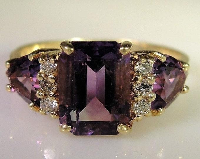 Reserved for Nadia: Amethyst Diamond Ring, 14K Yellow Gold, Emerald Cut Amethyst, Trillion Cut Amethyst, Size 6.5, FREE SIZING!!