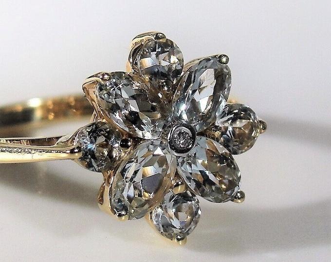 Aquamarine Ring, 14K Yellow Gold Aquamarine & Diamond Ring, Flower Ring, Statement Ring, Birthstone Ring, Vintage Ring, Sz 7.25, FREE SIZING