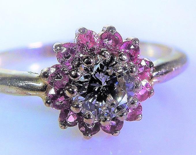 Diamond Sapphire Ring, 14K White Gold Diamond & Pink Sapphire Halo Ring, .65 Carat Diamond, .36 TCW Pink Sapphires, Size 7.25, FREE SIZING!!