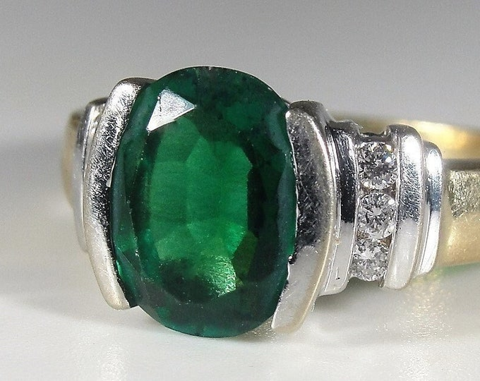 Emerald Ring, 14K Yellow and White Gold Oval Cut Green Emerald and Diamond Ring, 9mm by 7mm, 6 Diamonds, Vintage Ring, Size 7, FREE SIZING!!