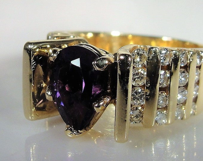 Amethyst Diamond Ring, 14K Yellow Gold Amethyst & Diamond Ring, Pear Shaped Amethyst, Channel Set Diamonds, Vintage Ring, S 7.5, FREE SIZING