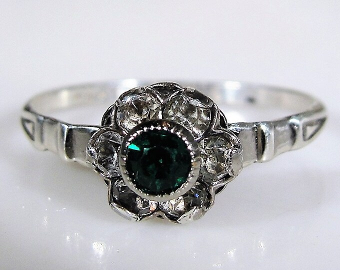 Emerald Ring, Synthetic Green Emerald and Diamond Flower Sterling Silver Ring, Right Hand Ring, May Birthstone, Size 6, FREE SIZING!!