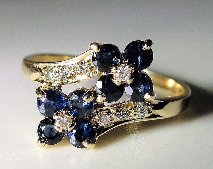 Sapphire Ring, 14K Blue Sapphire and Diamond Bypass Flower Ring, Right Hand Ring, Statement Ring, Vintage Ring, Size 6.25, FREE SIZING!!