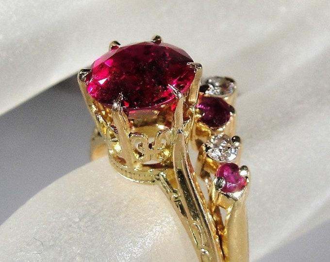 Victorian Bridal Rings, 10K Ruby Engagement Ring, 14K Ruby & Diamond Chevron Wedding Band, Wedding Rings, Vintage Rings, Size 6, FREE SIZING