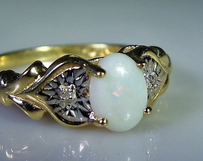 Art Deco 10K Yellow and White Gold Opal and Diamond Heart Ring, Opal Ring, Right Hand Ring, Vintage Ring, Size 7.25