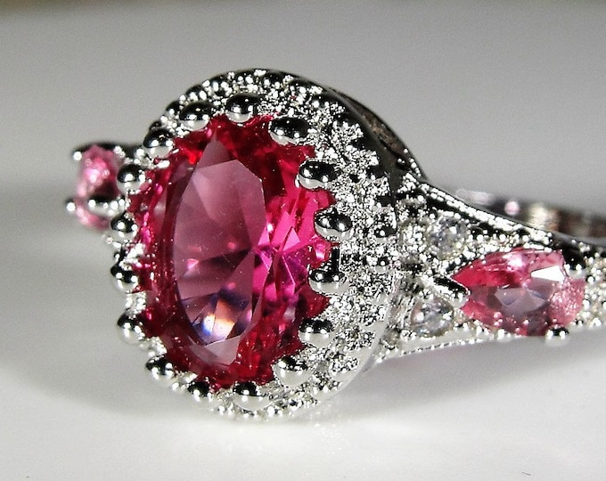 Sterling Pink Glass Ring, Pink Glass Ring with a Crown Mounting and Rhodium Plating, Right Hand Ring, Fashion Ring, Size 9, FREE SIZING!!