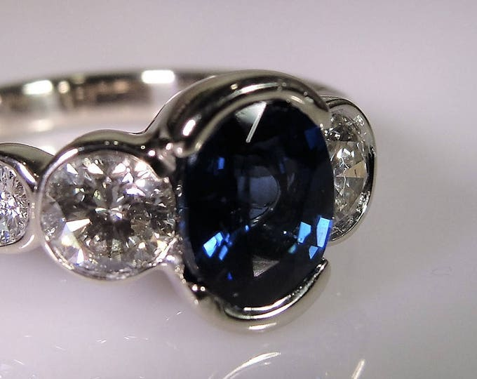18K White Gold Ring, Sapphire Ring, Sapphire Diamond Ring, Artisan Ring, Art Deco, Engagement Ring, Vintage Ring, S 6.75, FREE SIZING!!