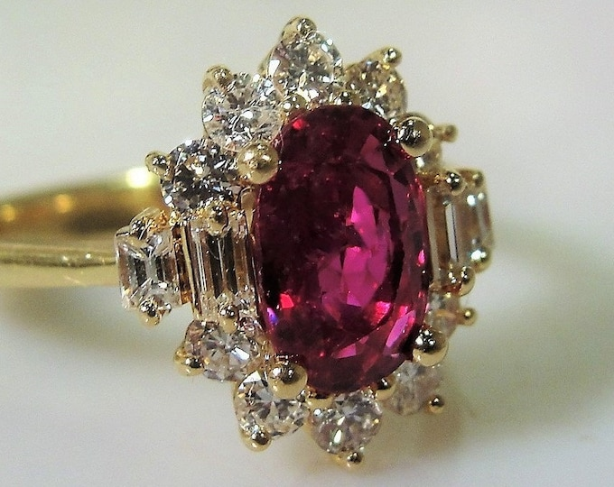 Ruby Diamond Ring, 14K Yellow Gold 1.5 CT Ruby and .60 TCW Diamond Ring, Ruby & Diamond Halo Ring, Vintage Ring, Size 7, Free Sizing!!