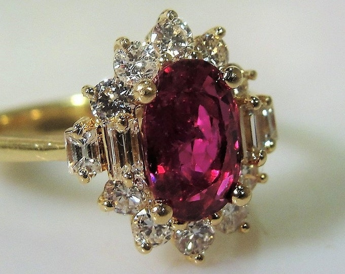 14K Yellow Gold 1.5 CT Ruby and .60 TCW Diamond Ring, Ruby and Diamond Halo Ring, Vintage Ring, Size 7