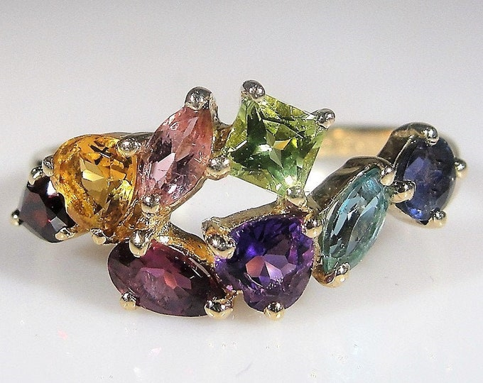 14K Multi Gemstone Ring, Red & Rubelite Garnet, Citrine, Pink Blue Topaz, Purple and Green Amethyst, Tanzanite, Vintage Ring, FREE SIZING