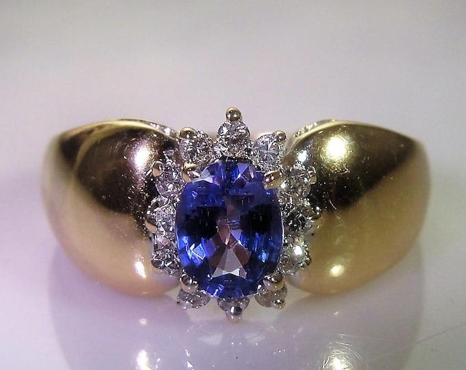 Tanzanite Ring, 10K Yellow Gold Ring, Tanzanite & Diamond Ring, Lavender Tanzanite, Tanzanite Halo Ring, Vintage Ring, Size 7, FREE SIZING!!