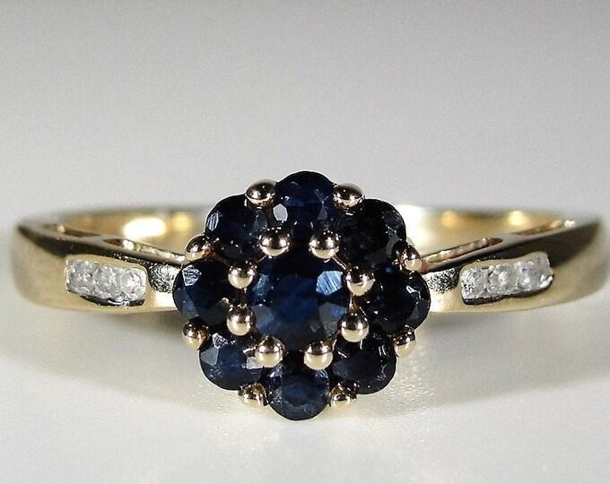 Sapphire and Diamond Ring, 10K Yellow Gold Genuine Sapphire & Diamond Flower Ring, Right Hand Ring, September Birthstone, Sz 7, FREE SIZING