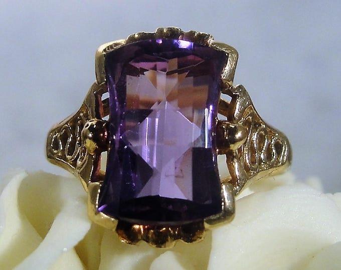10K Gold Ring, Genuine Amethyst Ring, European Step Cut Amethyst Ring, Purple Amethyst Ring, Amethyst, Vintage Ring, Vintage Ring, Size 6.5