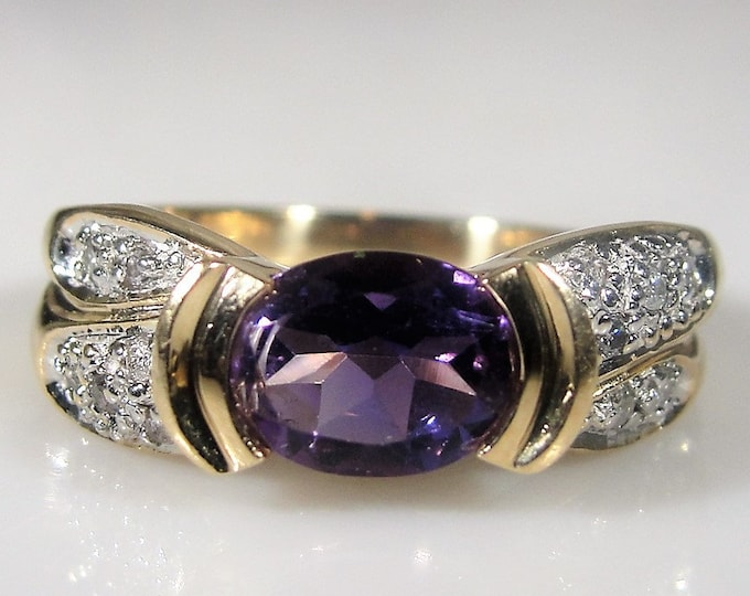 14K Tension Set Purple Amethyst & Diamond Ring, Oval Cut Amethyst, 1.41 CTs, Pave Set Diamond Accents, Vintage Ring, Size 7.5, FREE SIZING!!