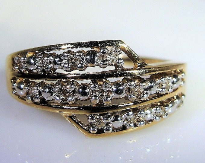 Three Tier Bypass Style 10K Yellow and White Gold Diamond Wedding Band, Genuine Diamonds, Vintage Wedding Band, Vintage Ring, Size 7