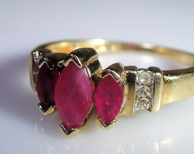 10K Gold Marquise Ruby and Diamond Ring, Ruby Trilogy Ring, Red Ruby Ring, Marquise Ring, Ruby Band, Vintage Ring, Size 7.25