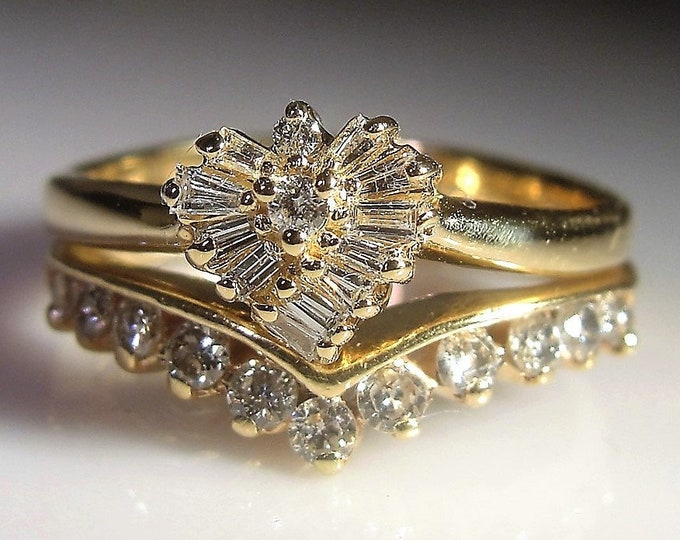 14K Bridal Ring Set, Wedding Ring Set, Heart Shaped Engagement Ring, Chevron Wedding Band, .60 TCW, Bridal Set, Vintage Wedding Rings, Sz 7