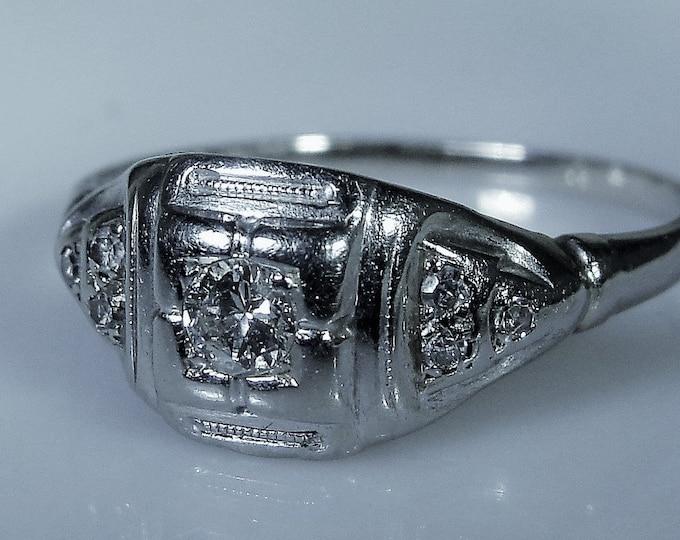 18K White Gold Diamond Ring, 1920s Art Deco Ring, .25 CTW, Diamond Engagement Ring, Promise Ring, Vintage Ring, Size 6.25, FREE SIZING!!